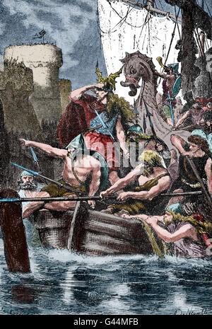 Wikinger greifen die Mittelmeerküste. 10. Jahrhundert. Gravur. Farbe. - Stockfoto