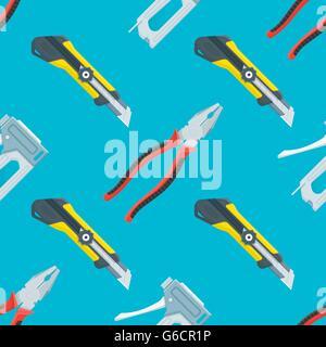 Vektor-farbige flache Design Haus umgestalten Instrumente Werkzeuge Bau Messer, Zangen und Tacker dekorative nahtlose - Stockfoto