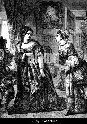 Königin Anne mit Frau Danvers, ein Schlafgemach Frau, die mit dem Dutchess of Marlborough stritten.  In einem Anfall - Stockfoto