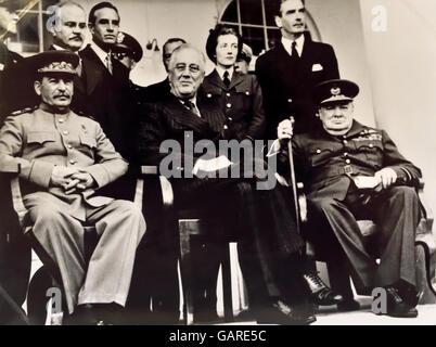 Die Teheran-Konferenz (Codename Eureka) war eine Strategiesitzung von Joseph Stalin, Roosevelt und Winston Churchill - Stockfoto