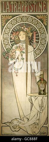 """Bildende Kunst, Mucha, Alfons Maria (24.8.1860 - 14.7.1939), Plakat für Likör """"La Trappistine"""", ca. 1895, Lithographie, - Stockfoto"""