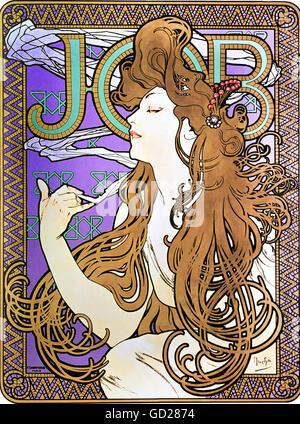 """Bildende Kunst, Mucha, Alphonse (1860-1939), Poster, Werbeplakat für """"Job"""" Zigaretten, Farbe Lithographie, Paris, - Stockfoto"""