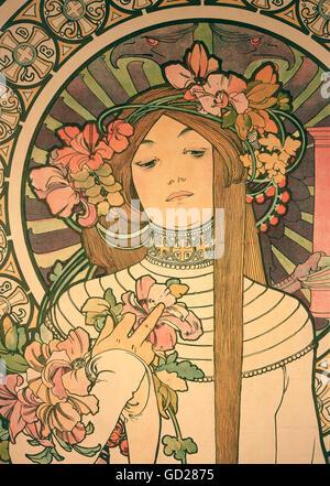 """bildenden Künste, Mucha, Alphonse (1860-1939), Plakat, Werbung Plakat für """"La Trappistine"""" Likör, Farbe Lithographie, - Stockfoto"""