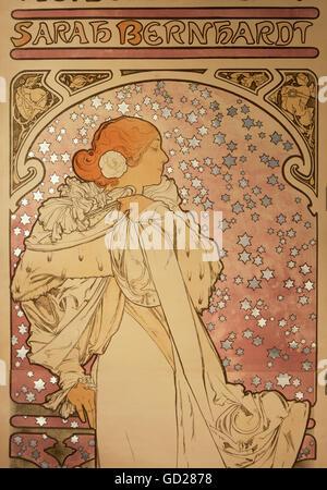 Bildende Kunst, Mucha, Alphonse (1860-1939), Poster, Detail aus einem Werbeplakat der Theatre De La Renaissance - Stockfoto