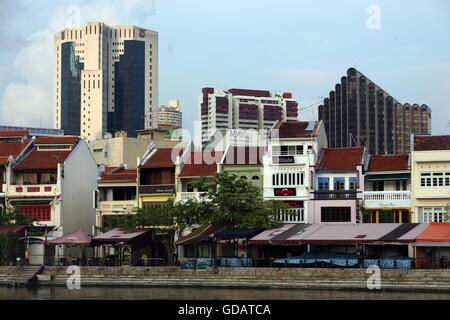 Asien, Suedost, Singapur, Insel, Staat, Stadt, Stadt, Skyline, Zentrum, Boat Quay, Bankenviertel, Promenade, Restaurant, - Stockfoto