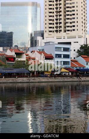 Asien, Suedost, Singapur, Insel, Staat, Stadt, Stadt, Skyline, Zentrum, Boat Quay, Bankenviertel, Restaurant, Promenade, - Stockfoto
