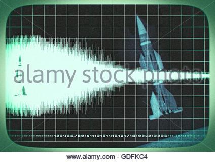 Top geheime Rakete Mission Area 51 Monitor Rahmen Foto illustration - Stockfoto