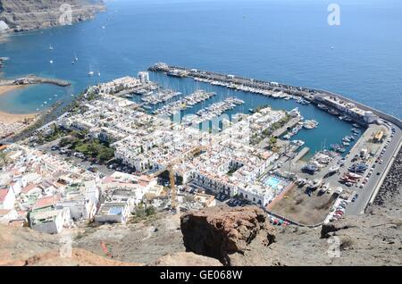 Hafen, Mogan, Puerto, Canaria, Gran, Reisen, Spanien, Ansicht, Kanarische Inseln, Marina, alte, historische, kleine, - Stockfoto