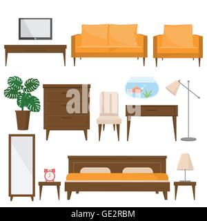 Wohnzimmer, Bett Zimmer Und Büro Möbel Im Modernen Stil. Schöne  Design Elemente,