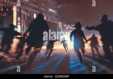 Mann auf der Flucht vor Zombies in der Nacht Stadt, Illustration, digitale Malerei - Stockfoto