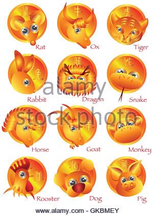 Chinesisches Sternzeichen Tiere - Stockfoto