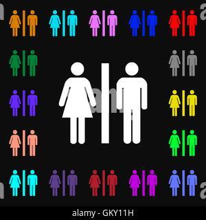 Silhouette eines Mannes und einer Frau Iconi Zeichen. Viele bunte Symbole für Ihr Design. Vektor - Stockfoto