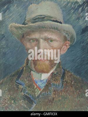 Selbstbildnis von Vincent Van Gogh, 1887, Niederländisch Ölgemälde. Er porträtierte sich hier als eine modisch gekleidete - Stockfoto
