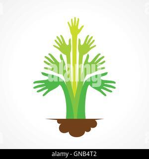 kreative grüne Hand Baum Design Konzept Vektor - Stockfoto