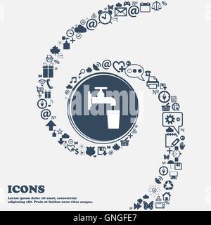 Wasserhahn, Glas, Wasser Symbol Zeichen in der Mitte. Um die vielen schönen Symbole in einer Spirale gewickelt. - Stockfoto