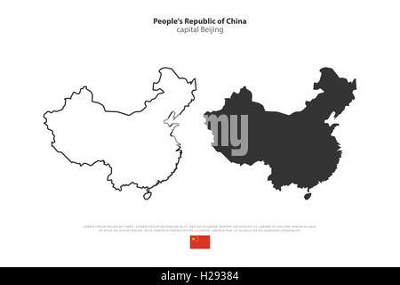 china landkarte mit hauptstadt peking landesgrenzen wichtige st dte fl sse und seen. Black Bedroom Furniture Sets. Home Design Ideas