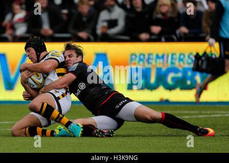 Barnet Copthall, London, UK. 9. Oktober 2016. Aviva Premiership Rugby. Sarazenen gegen Wespen. Rob Miller von Wespen - Stockfoto