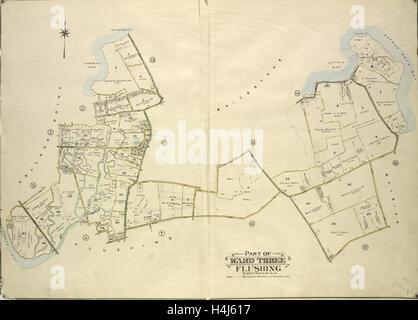Queens, Bd. 3, doppelte Seite Platte Nr. 4; Teil der Gemeinde Dreipunkt College. Karte, begrenzt durch die 11th - Stockfoto