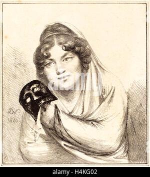 Baron Dominique Vivant Denon, Französisch (1747-1825), Mädchen mit einer Maske, 1820, Lithographie - Stockfoto