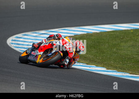 Phillip Island, Australien. 23. Oktober 2016. MotoGP. Warm Up. Marc Marquez, Repsol Honda MotoGP-Team. Bildnachweis: - Stockfoto