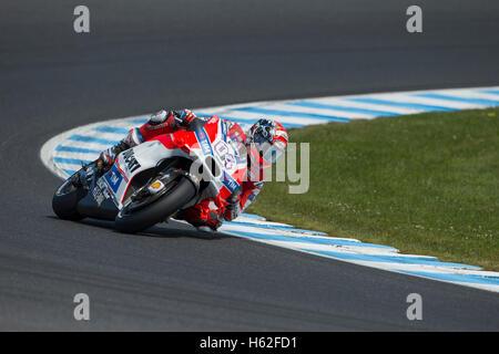 Phillip Island, Australien. 23. Oktober 2016. MotoGP. Warm Up. Andrea Dovizioso, Ducati MotoGP Team. Bildnachweis: - Stockfoto