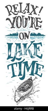 Entspannen Sie sich. Sie befinden sich auf See-Zeit. See Haus Dekor. See-Zeichen, rustikale Wanddekoration. Hütte - Stockfoto