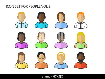 Verschiedene Vektor-Icons / Symbole der verschiedenen Avatar Köpfe und Gesichter der verschiedenen Hautfarben - Stockfoto
