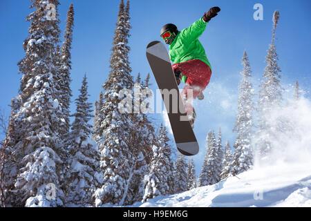 Snowboarder springt Freeride Pulver Wald - Stockfoto