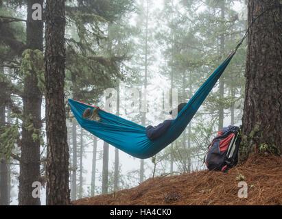 Weibliche Wanderer zum Entspannen in der Hängematte im Pinienwald. Einsatzmöglichkeiten: Reife Backpacker/Rente/Abenteuer/Auslandsjahr... - Stockfoto