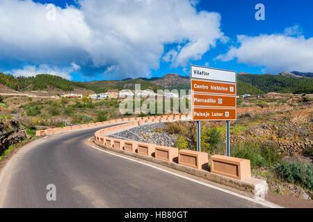 Ortseingangsschild nach Vilaflor Teneriffa - Stockfoto