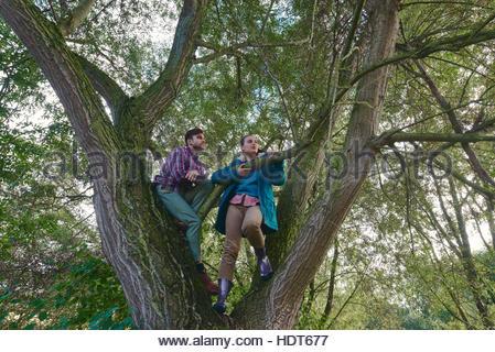 Junges Paar Kletterbaum zusammen. - Stockfoto