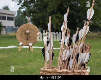 Gruppe der Pfeile im Weidenkorb und Stroh Zielscheibe im Hintergrund auf Wiese - Stockfoto