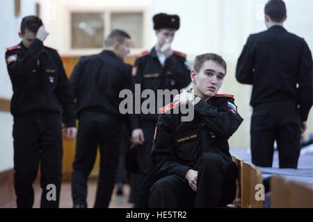 Omsk, Russland. 16. Dezember 2016. Kadetten der Omsk Kadettenkorps. © Dmitry Feoktistov/TASS/Alamy Live-Nachrichten - Stockfoto