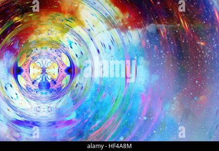 grafisches Konzept der Musik im Raum, kosmische Schallwellen, Computerdesign, Musikkonzept. - Stockfoto