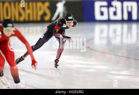 Deutsche Eisschnellläuferin Gabriele Hirschbichler in Aktion während der Frauen Sprint-Event bei der Eisschnelllauf - Stockfoto