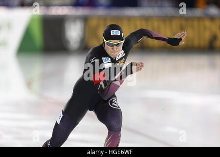 Deutsche Eisschnellläuferin Gabriele Hirschbichler in Aktion während der Frauen Sprint/Multi-Event bei der Eisschnelllauf - Stockfoto