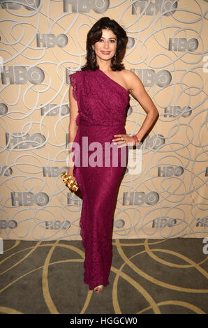 Los Angeles, Ca, USA. 8. Januar 2017. Poojah Batra bei HBO offizielle Golden Globe Awards nach Party anreisen bei - Stockfoto