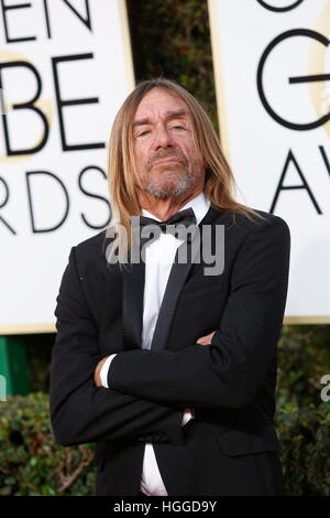 Beverly Hills, uns. 8. Januar 2017. Iggy Pop kommt bei der 74. Annual Golden Globe Awards, Golden Globes in Beverly - Stockfoto