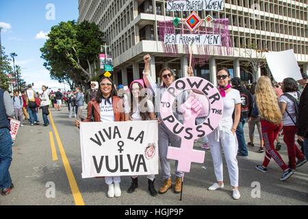 Los Angeles, Kalifornien, USA. 21. Januar 2017. Teilnehmer zeigen ihre Zeichen auf die Frauen Marsch in Los Angeles, - Stockfoto