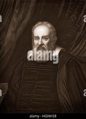 Galileo Galilei 1564-1642, ein italienischer Philosoph, Mathematiker, Physiker und Astronom - Stockfoto