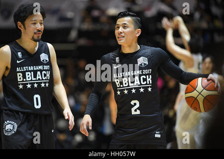 Tokio, Japan. 15. Januar 2017. (L-R) Yuta Tabuse (Brex), Yuki Togashi (Jets) Basketball: B.LEAGUE All Star Game - Stockfoto
