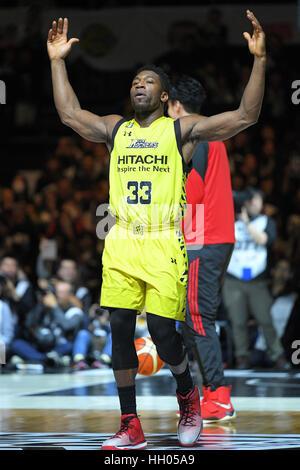 Tokio, Japan. 15. Januar 2017. Ira Brown (Sunrockers) Basketball: B.LEAGUE All Star Spiel 2017 Dunk Contest am 1. - Stockfoto