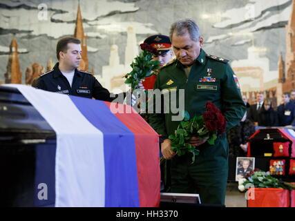Moscow Region, Russland. 16. Januar 2017. Russlands Verteidigungs-Minister Sergei Shoigu bei einer Abschiedszeremonie - Stockfoto