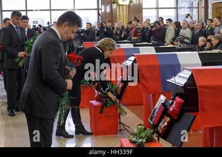 Moscow Region, Russland. 16. Januar 2017. Russlands Transport Minister Maxim Sokolow (L) und Russische Föderation - Stockfoto