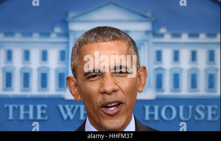 Washington, DC, USA. 18. Januar 2017. Barack Obama spricht bei seiner letzten Pressekonferenz als US-Präsident im - Stockfoto