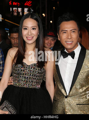 "Hollywood CA - Januar 19: Donnie Yen, Cissy Wang, bei Premiere von Paramount Pictures ""xXx: Return Of Xander Cage"", - Stockfoto"