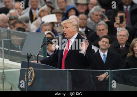 Washington, USA. 20. Januar 2017. US-Präsident Donald Trump liefert seiner Antrittsrede nach dem Amtseid, Präsident - Stockfoto