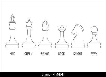 Satz von sechs Schachfiguren, Vektor-Illustration. - Stockfoto