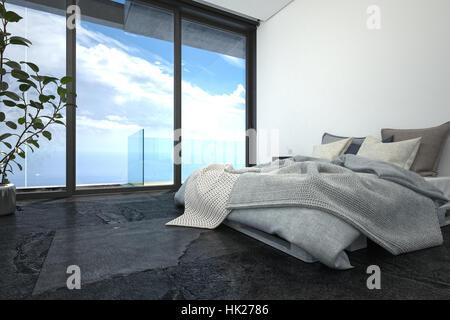 3d Fußboden Schlafzimmer ~ D rendern von luxus schlafzimmer mit ungemachten bett in wohnung