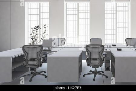 Büro mit leeren Arbeitsplätzen gut durch große Fenster beleuchtet. Minimalistische Architektur Einrichtungskonzept. - Stockfoto